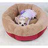 Wuwenw  Pet Cat e Dog Bed For Puppy Cuscino Lettino Tondo Canile Prodotti animali per tappeti in Autunno Inverno, L, Rosso