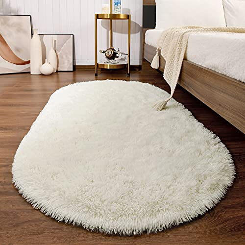 soft rugs for bedrooms Softlife Fluffy Rugs for Bedroom, Shag Cute Area Rug for Girls and Kids Baby Room Home Decor, 2.6 x 5.3 Feet Oval Indoor Carpet for Nursery Dorm Living Room, Creamy