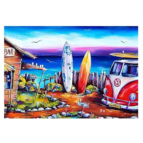 TWBB Diamond Painting for Adult 5D Diamond Painting Full Drill Paint with Diamonds fit DIY,Diamond Art Kits for Adults,Beach Oil Painting Style (Life at Beach) (Beach Car 2)
