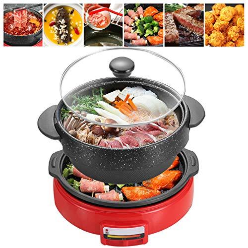 Fondue Electrique Hot Pot Bbq Design Split Multifonctionnelle 1300w électrique Poêle à Frire Pot à Soupe Sauteuse Eelectric Cooker Intérieur Appareil Cuisson Pour Maison Cuisine Fête