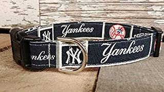 New York Yankees, NY Yankees dog collar buckle or martingale with leash set option