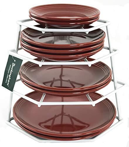 Buckingham 4 Tier Corner Plate, Kitchen Cupboard Organiser, Storage Rack, Space Saver-Premium Quality, Steel, White, 23 x 23 x 26 cm