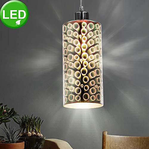 Lampada a sospensione design sospensione per soggiorno. Lampada cromata nel set con lampadine a LED