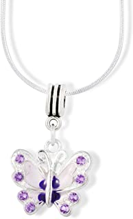 Emerald Park Jewelry Butterfly with Coloured Enamel Charm Snake Chain Necklace