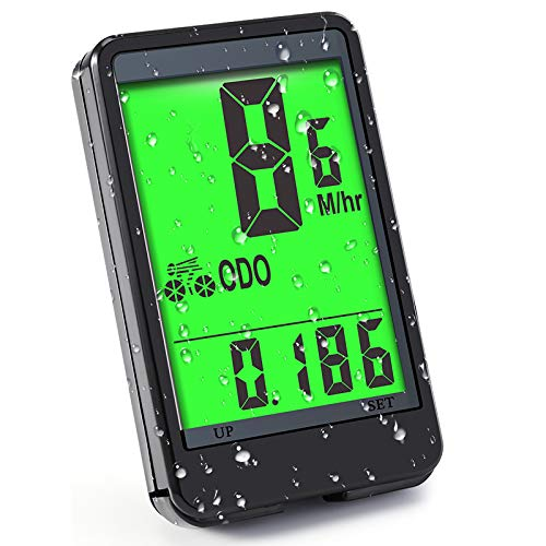 Cuentakilómetros para Bicicleta CrazyFire Pantalla Grande Velocimetro Impermeable Ciclocomputador Cuenta Kilómetros, Reloj...