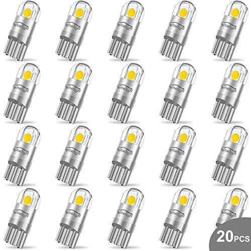 WEIMELTOY 194 LED Car Bulb 3030 Chipset 2SMD T10 194 168 W5W LED Wedge Light Bulb 1.5W 12V License Plate Light Courtesy Step Light Trunk Lamp Clearance Lights (20pcs/pack)