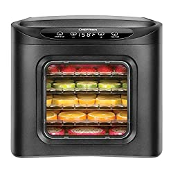 Chefman Food Dehydrator Machine, Electric Multi-Tier Food Preserver, Meat or Beef Jerky Maker, Fruit Leather, Vegetable Dryer w/ 6 Slide Out BPA Free Drying Rack Trays & Transparent Door, Black