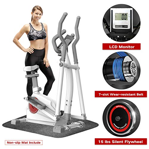 Lowest Price! Elevtab Elliptical Machine Trainer - Adjustable 8 Levels Resistance and Seats, with Di...