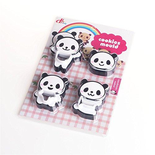 LAOMAO Frühstück DIY niedlichen Comic Panda Form Kuchen Ausstecher Kunststoff Brot Form Hersteller 4 Arten 1 Satz