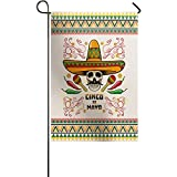 BABE MAPS Mexico May 5th Festival Garden Flag 12x18inch, Polyester Seasonal Flags, Double Sided Decorative Flags for Home Outdoor Yard Holiday Decor - Strawhat Chili Skull