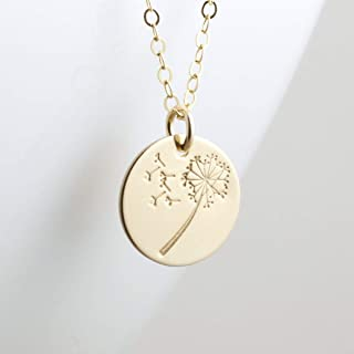 Dandelion Wish Necklace Gold Filled Round Pendant Flower Jewelry 18 Inch Length