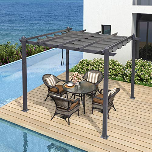 PURPLE LEAF 10' X 10' Aluminum Grape Trellis Pergola Outdoor Retractable Pergola Canopy Pool Garden Patio Gazebo,Gray