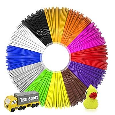 JAMIEWIN 3D Pen Filament Refills 12 Color 1.75mm PLA Refill Chemical Free for Kids 3D Pen Creative - 5M /Color