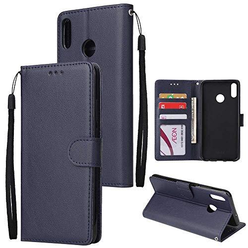 THRION Huawei Honor 8X Hülle, PU Brieftaschenetui mit magnetischer Handschlaufe und Ständerhalterung für Huawei Honor 8X, Blau