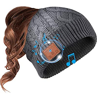 Beanie Hat Bluetooth Headphone Ponytail Warm Be...