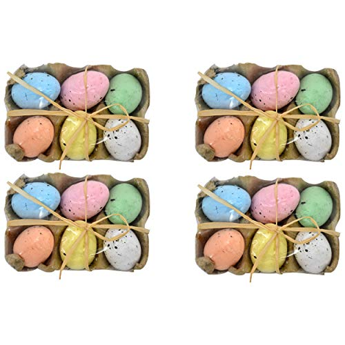 Gift Boutique 24 Decorative Speckled Easter Eggs in Foam Egg Carton 4 Crate Trays with 6 Fake Eggs with Raffia Bow Multicolored Pastel Kitchen Decoration for Adult Boy Girl Party Favor Craft Supplies