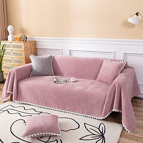 HALOUK Universal Funda de Sofá,Funda para Sofá 1 Pieza Suave Gruesas Lavable Protector de Muebles para Sala de Estar-Rosado-180×240cm(71×94inch)