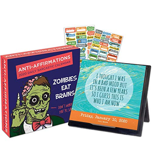 Anti-Affirmations 2020 Calendar Box Edition Bundle - Deluxe 2020 Daily Dose of Sarcasm 365 Daily Pages Box Calendar with Over 100 Calendar Stickers