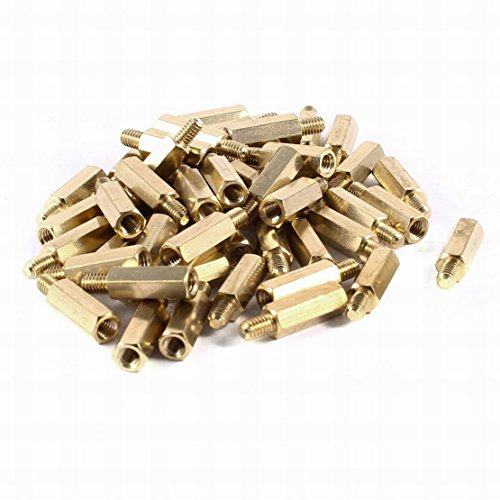 Houseuse 50pcs Brass Hex Standoff Spacer Screw Female to Male 16mm+6mm M4 4mm