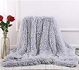 BYM Kuscheldecke Wohndecke Doppelseitig aus Warmem Weichem Plüsch Wolldecke Flauschige Felloptik Tagesdecke (Hellgrau)