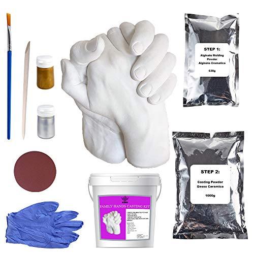 Art King Kit Calco Mani Confezione XL | Impronta Mani e Piedi 3D per Adulti e Bambini | Comprende Accessori e Istruzioni in Italiano per Calco Mani Coppia | Kit per Calco in Gesso Professionale