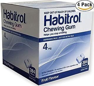 Habitrol Nicotine Gum 4mg Fruit Flavor. 4 bulk packs of 384 (total 1536 pieces)