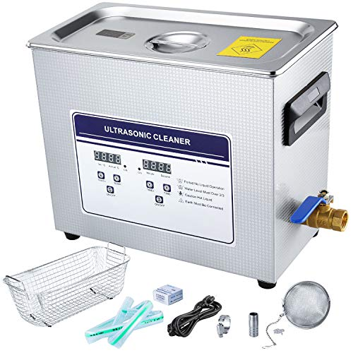 Anbull 6.5L Professional Ultrasonic Cleaner Machine with 304 Stainless Steel and Digital Timer Heater for Jewelry Watch Coin Glass Circuit Board Dentures Small Parts