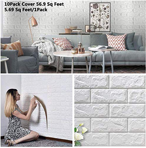 BOJU 10Pcs 3D Tile Brick Wall Stickers Self-Adhesive Wallpaper Foam Panel 70×77cm