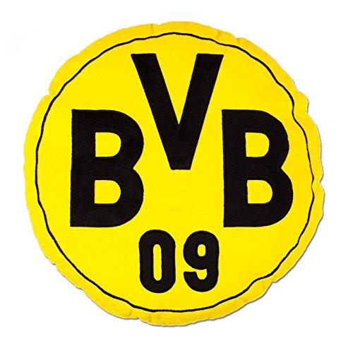 Borussia Dortmund Herren Bvb-kissen (Rund) Kissen rund mit Emblem, Schwarz/gelb, 42 x 42 x 5 cm
