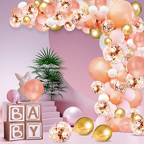 Rose Gold Balloon Arch Kit,AivaToba 113PCS Balloons Garland Rose Gold Pink White Gold Confetti Balloons with Tape Strip & Dot Glue for Girl Birthday Baby Shower Party Wedding Decorations