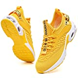 Tennis Shoes for Women Walking Athletic Workout Gym Stylish Sneakers Comfort Breathable mesh Casual Running Jogging Sport Shoes Yellow Size 6.5