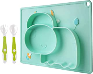 TALITARE Baby Silicone Plate with Bendable Spoon and Fork- Toddlers Eating Learning Set of Silicone Bowl with Placemat, BP...