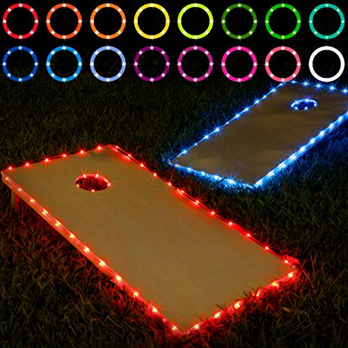 Frienda Cornhole Lights, 16 Colors Change Cornhole Board Edge and Ring LED Lights with Remote Control for Family Backyard Bean Bag Toss Cornhole Game, 2 Set (4 × 2 ft)