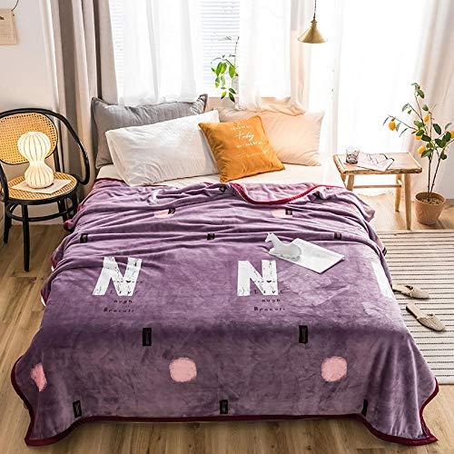 PengMu deken van zachte microvezel, warm, met een dikke rand van koraal kan niet worden toegestaan om de bol met paarse letters verlicht je bank, bank of bed te verlichten.