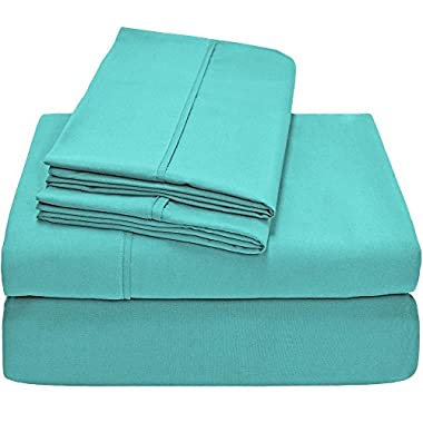 Bare Home Premium 1800 Ultra-Soft Microfiber Collection Sheet Set - Double Brushed - Hypoallergenic - Wrinkle Resistant - Deep Pocket (Queen, Turquoise)