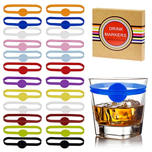 24 Pieces Silicone Wine Glass Markers, bachelorette party favors for guests, Wine Glasses Tags,...