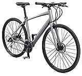 Schwinn Vantage F2 Mens/Womens Sport Hybrid Bike, 24-Speed Drivetrain, 60cm/Extra Large Aluminum Frame, Flat Bar, Disc Brakes, Smooth Ride Technology, Matte Grey