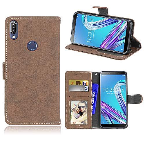 Funda ASUS Zenfone MAX Pro (M1) ZB601KL - para ASUS Zenfone MAX Pro (M1) ZB601KL Funda de Piel Mate,Caja del teléfono de la Ranura de la Tarjeta del tirón de la Anti-caída - Beige