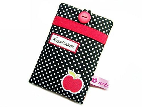 Handyhülle Handytasche Smartphonehülle Äppeltäsch schwarz-rot, wird in hochwertiger Handarbeit für dein Handy angefertigt, z.B. für iPhone