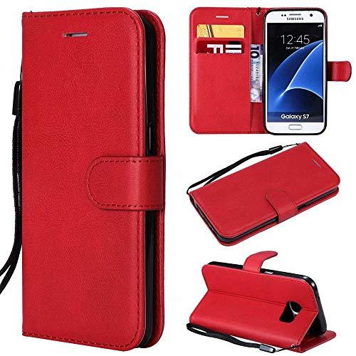 Funda de piel sintética de alta calidad con función atril y correa de muñeca compatible con Samsung Galaxy S7 (color rojo)