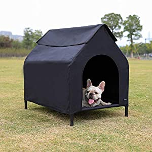 AmazonBasics Elevated Portable Pet House, Medium (43 x 35 x 30 Inches), Black