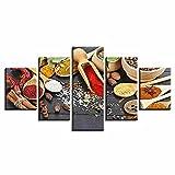 Impresiones sobre Lienzo Especias Ingrediente Cocina Cocina 5 Cuadros En Lienzo Modernos Salón Decoracion Murales Pared Lona XXL Grande Hogar Dormitorios Arte Pared HD Impresión Foto