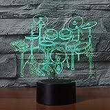 3D Illusion Night Light bluetooth smart Control 7&16M Color Mobile App Led Vision Rack Drum Set Modeling Desk Home Decor Musical Instruments Bedside Sleep Unique