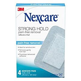 Nexcare Sensitive Skin Adhesive Pads, Pain-Free Removal, 3 Inch X 4 Inch, 4 Pack, Blue 1 Pain-free removal for comfort Ideal for sensitive skin Removes gently from hair