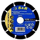 S&R Disco 125 per Smerigliatrice per taglio Legno Chiodi Plastica Cartongesso. Lama TCT Professionale per legno