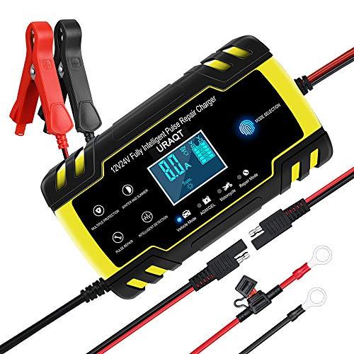 URAQT Autobatterie Ladegerät, Erhaltungsladegerät 8A 12V/24V, Aktualisierung Batterieladegerät Batterie Ladegerät für Auto Motorrad KFZ PKW-MEHRWEG, Ladegerät mit LCD-Anzeige für Auto-Motorrad (#2)