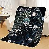 BLAMARIA Tagesdecken Anime Black Butler Cartoon Flanell Weiche Flauschige Warme Decke Blätter Sofa Picknick Camping Reise Hause Decke (B) 150 * 200cm