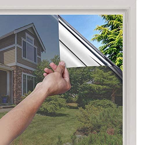 rabbitgoo Vinilo Espejo para Ventanas Unidireccional Lámina Electricidad Estatica Protector Solar Privacidad Vinilo Ventana Deorativos Adhesiva Anti 85% Calor y 99% UV para Hogar Oficina 89x20