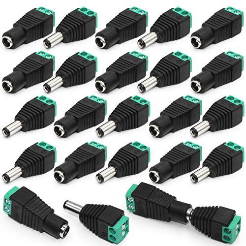 DC Stecker 20 Paare 12V Stecker 2,1mm x 5,5mm DC Buchse DC Männlich und Weiblich Netzteil Adapter DC Verbinder Steckverbinder für CCTV-Überwachungskamera