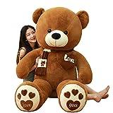 HYAKURIぬいぐるみ 特大 くま/テディベア 可愛い熊 動物 大きい/巨大 くまぬいぐるみ/熊縫い包み/クマ抱き枕/お祝い/ふわふわぬいぐるみ (ダークブラウン, 100cm)